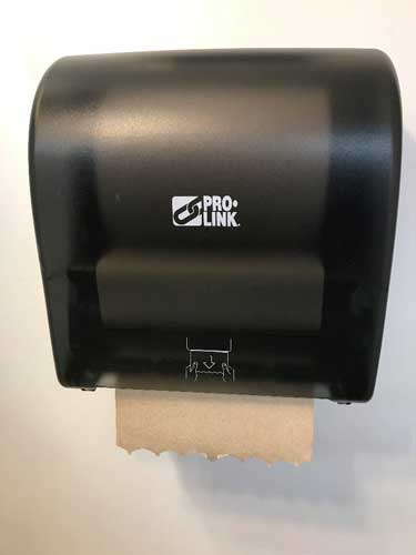 Hardwound Roll Towel in Black Great Western Supply Auto-Cut Towel Dispenser