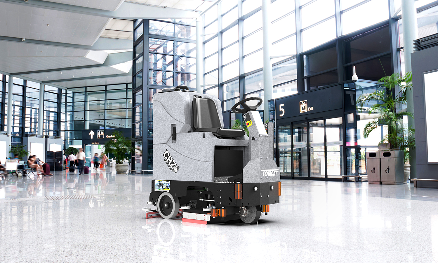 Tomcat Floor Scrubber demonstrated at an airport