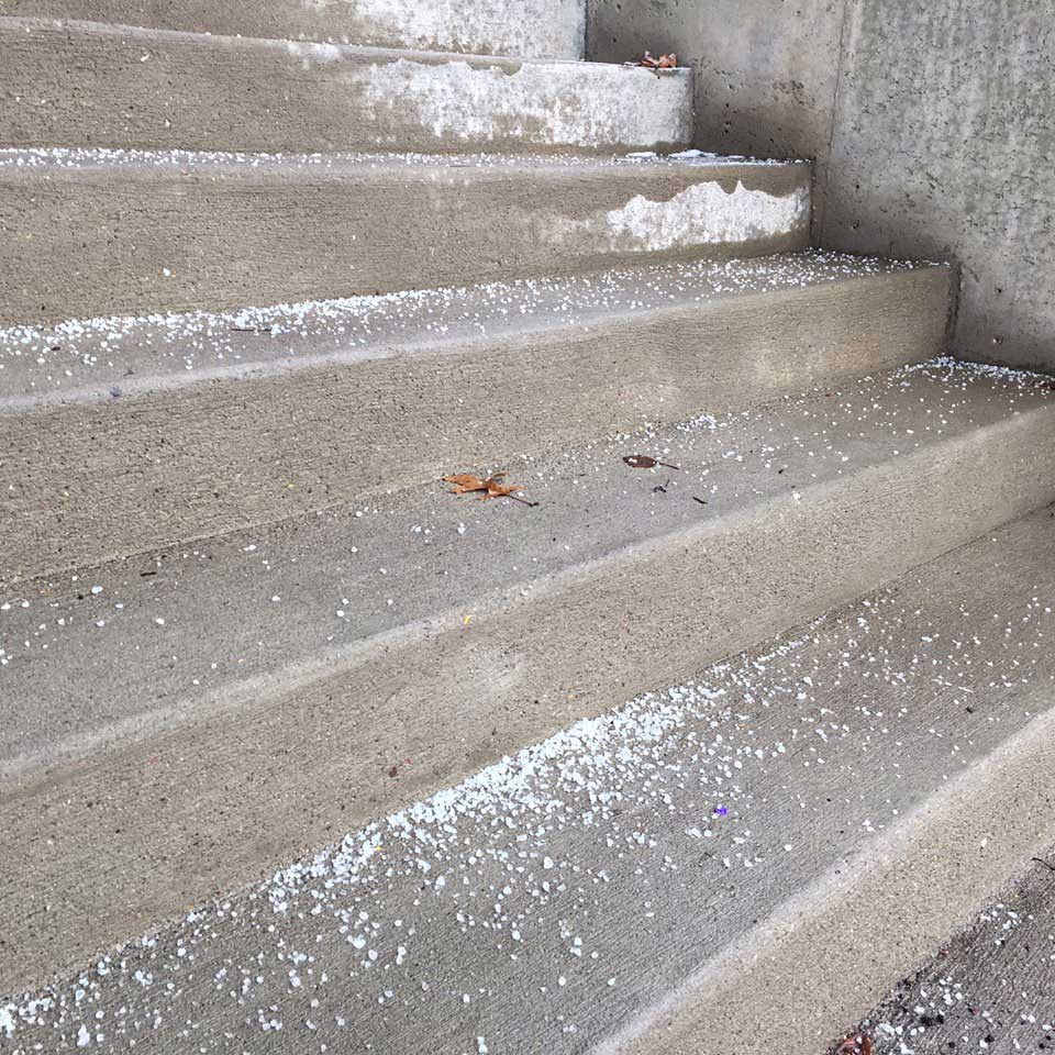 Concrete stairs with ice melt available at Great Western Supply